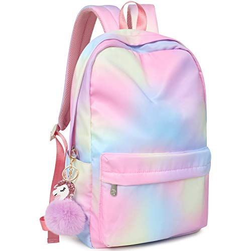 FITMYFAVO Rainbow Backpack for Girls with keychain Lightweight Waterproof Daypack Bookbag fit 15' laptop
