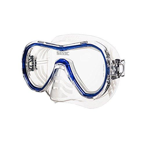 Máscara Giglio de Seac para natación y esnórquel. Máscara para adultos negra de silicona, con montura en diversos colores, monolente y talla unisex