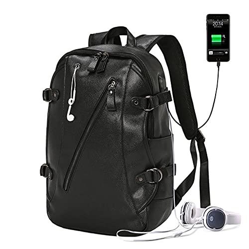 Peng Fang Mochila de cuero negra para hombres impermeable USB de carga viajar computadora portátil anti robo mochila bolsas de lujo para hombre moda 2020-black leather bags