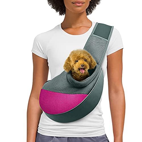 AOFOOK Dog Cat Sling Carrier, Adjustable Padded Shoulder Strap, with Mesh Pocket for Outdoor Travel...