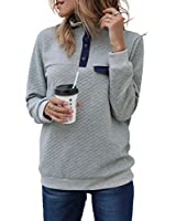 MEROKEETY Women's Long Sleeve V Neck Button Quilted Patchwork Pullover Sweatshirt Tops,Grey,Large