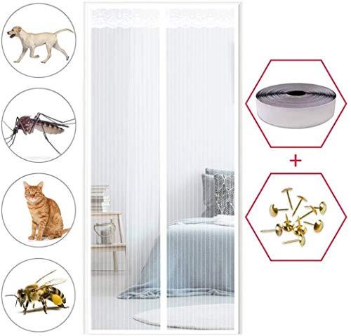 KK-Luftbefeuchter Magnet Fliegengitter Balkontür 90x200cm, Fliegengitter Balkontür, Insektenschutz, Glasfasermaterial, für Balkontür Wohnzimmer Terrassentür - Weiß