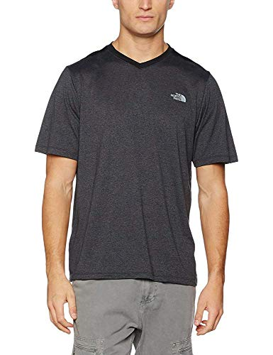 The North Face Reactor T-Shirt Manches Courtes Homme, Dark Grey Heather/Black, FR : L (Taille Fabricant : L)