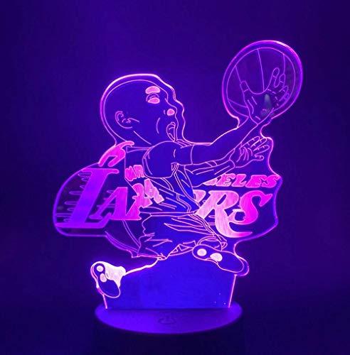 new Nachtlicht Basketball Spieler Kobe Bryant Abbildung Led Tischleuchte für Club Zähler Schlafzimmer Dekoration Cooles Geschenk für Kinder Kind Schreibtisch 3D Lampe