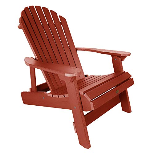 highwood AD-KING1-RED Hamilton Folding and Reclining Adirondack Chair, King Size, Rustic Red