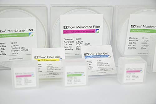 Foxx Life Sciences 364-3811-OEM EZFlow Membrane Disc Filter, Nylon, 90 mm Diameter.45 µm Pore Size (Pack of 25)