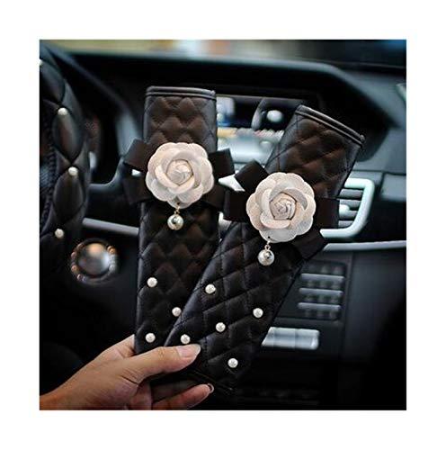 Fundas Para Volante 38 cm moda cubierta del volante de la manera linda con perla de diamante Negro y blanco Caja de la llave de la flor de la rosa (Color Name : 2pcs Seat Belt Cover)