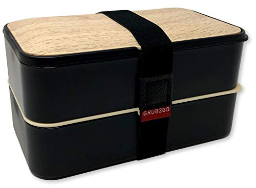 THE ORIGINAL Japanese Bento Box (Upgraded 2020 Black & Bamboo Design) w/ 2 Dividers + Larger Utensils w/Holder - Leakproof Lunch Container