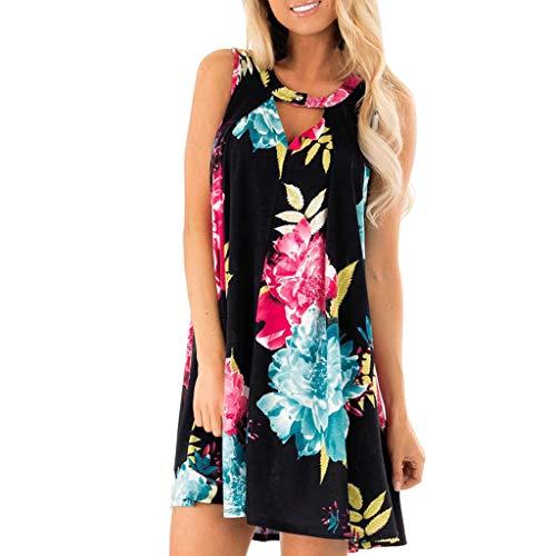 Damen Kleider Sommer Kurzarm Gestreift Bedruckt Rundhals Weste Sexy Kleider Damen Strandkleid Blumendruck Nähte Kleid Polyester lässig Bequeme Großkleid (EU:42, Schwarz)