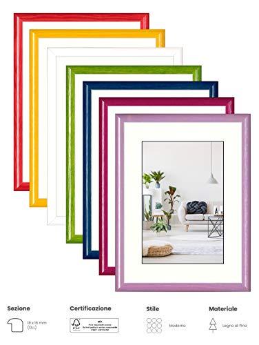 eacommerce Cornice Foto Stampe Portafoto da Parete e da Tavolo MOD. Colors in Legno di Pino Colori Assortiti (Glicine, 30x40 cm)