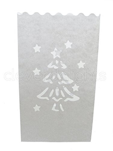 CleverDelights White Luminary Bags - 10 Count - Christmas Tree Design - Wedding Party Christmas Holiday Luminaria
