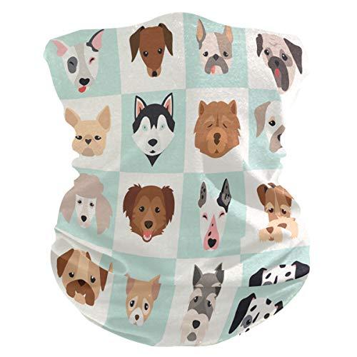 BIGJOKE Gesichtsmaske mit süßem Hundemotiv, winddicht, UV-Schutz, Kopftuch, waschbar, Halstuch für Damen, Herren, Outdoor-Aktivitäten, Yoga, gegen Staub