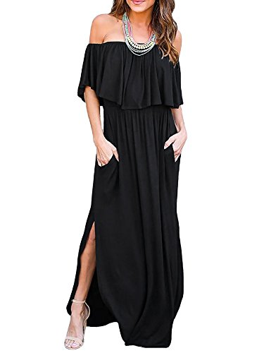 Odosalii Damen Off Shoulder Sommerkleid Boho Kleider Bandeau Langes Kleid Casual Strandkleider Side Split Maxikleid Cocktail Abendkleid, Schwarz, S