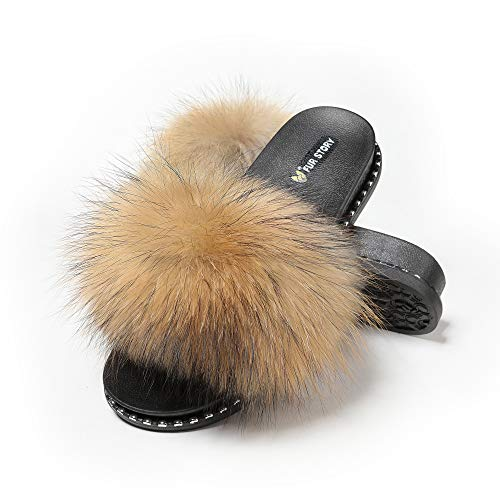 Fur Story Women's Fox Fur Slides Furry Slide Sandal(7,Raccoon,Rivet)
