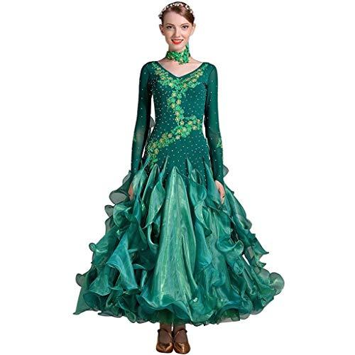 Vestido De Cóctel Vestido De Noche Largo De Baile Moderno Estándar De La Danza del Traje (Color : Green, Size : XXL)