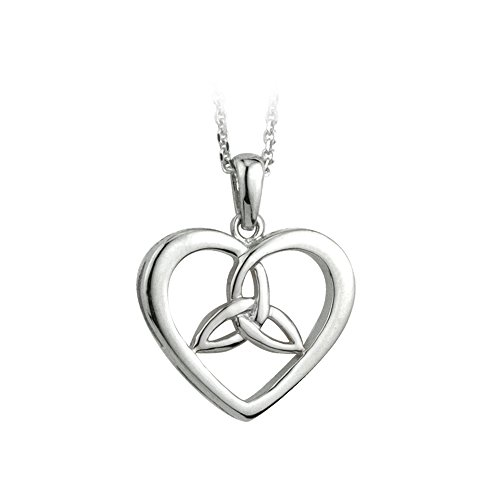 Celtic Heart Necklace with Trinity Knot Sterling Silver Made in Ireland