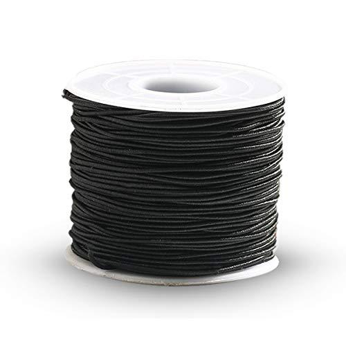 Cuerda elástica para pulseras, 1 mm de poliéster elástico, cuerda elástica para hacer joyas, abalorios, hilo elástico, 50 m, rollo para mujeres y niños, Hilo de látex + hilo de poliéster., negro, 1mm*50m/0.039*19.68in