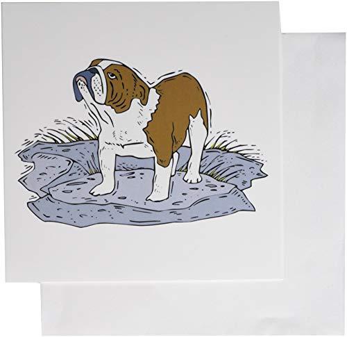 3Drose schattig en knuffelig Canine Tan Engels Bulldog - wenskaarten, 6 door 6-inch, Set van 6 (gc_129136_1)