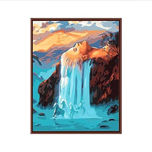 Waofe Venta Caliente Arte De La Pared Decoración Para El Hogar Cuadro Abstracto Pintura By Números Diy Lienzo Digital Pintura Al Óleo Cascada De Pelo Blanco Gx6494