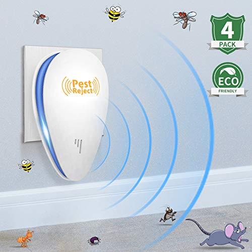 Repelente ultrasónico de plagas, repelente ultrasónico de insectos para interiores, repelente de ratones y ratas, repelente de plagas para mosquito, ratone, hormiga, rata, pulga, termita, paquete de 4