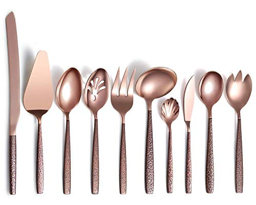 Berglander Silverware Serving Set 10 Pieces With Moon Surface Handle And Rose Gold Mouth Titanium Plating Stainless Steel Modern Copper Flatware Serving Set Serving Spoons Serving Utensils