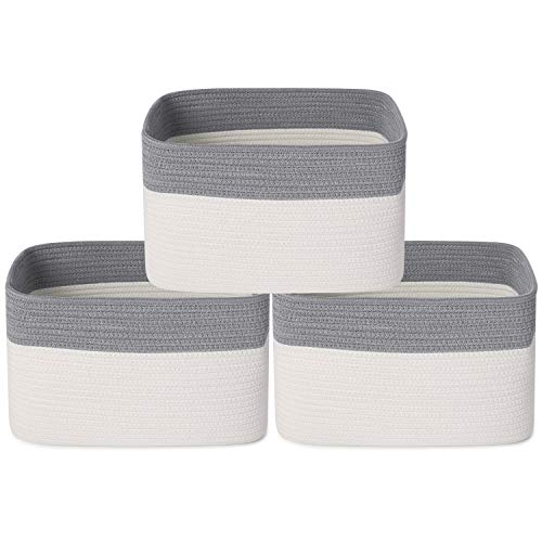 ANMINY 3PCS Woven Cotton Rope Storage Baskets with Handles Large Washable Basket Set Decorative Storage Bins Boxes Nursery Baby Kid Toy Blanket Clothes Towel Laundry Organizer Containers - White/Gray
