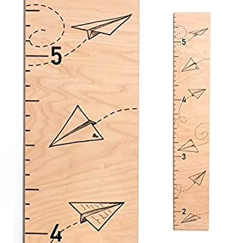 Wooden Growth Chart for Kids   Baby Shower Gift   Wood Height Chart - Paper Airplanes