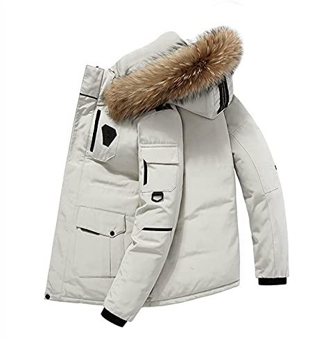 SKYWPOJU Chaqueta de plumón para hombre, abrigo de invierno ligero de invierno para adultos al aire libre, fácil cuidado, resistente al agua, chaqueta a prueba de viento para acampar, viajar y caminar