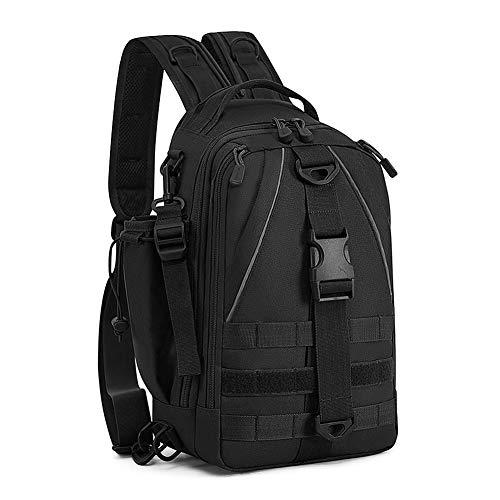 Huntvp 2in1 Taktische Brusttasche Militär Slingbag Rucksack Molle Schultertasche Wasserdicht Crossbody Bag Multifunktion für Sport Angeln Outdoor Camping (Typ-2 Schwarz)