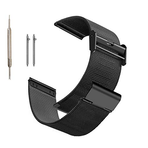 MUEN Sgancio Rapido 20mm 22mm Cinturino Compatibile con Samsung Galaxy Watch, Huawei Watch,Cinturini in Acciaio Inossidabile di Ricambio Compatibile con Orologi per Donna e Uomo (20mm, Nero)