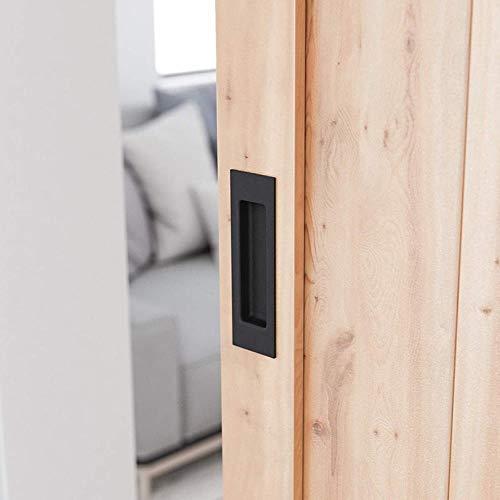 JPZCDK 4pc Schwarz Aluminiumgriff Holzschiebetüren unsichtbare versteckte Griffe Innentürgriffe und Türgriff, Loch 128mm