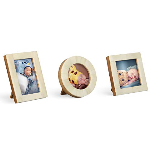 Handicrafts Home Baby Picture Frame for Newborn Girls and Boys Shower Frames Set of 3 White