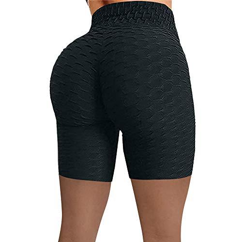 Bossoshe Fitness Running Deporte-Pantaloncini sportivi a Vita Alta, Pantaloni da Yoga a Bolle morbide-Nero_S-Levantamiento de Glúteos