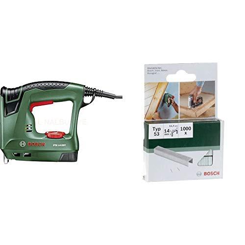 Bosch Elektrotacker PTK 14 EDT, 1000 Klammern, Karton (30 min-1 Schläge, Nägel: 14 mm, 1,1 kg) & Bosch 2609255823 DIY Klammern Typ 53 11.4 x 0.74 x 14 mm
