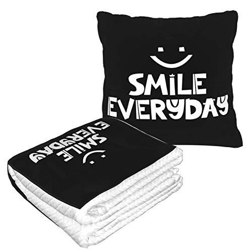 Smile Everyday 2-in-1 Premium-Decke, weich, gemütlich, warm, Reisedecke, Flugzeug, Plüsch-Nackenkissen zum Schlafen