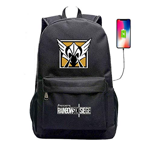 Rainbow Six Siege USB Charging Port Black Oxford Backpack (#4)