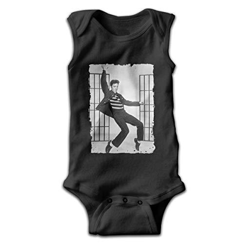 Nanabang Elvis Presley Baby Boy Girl Sleeveless Baby Onesie Cartoon Simple Black 6M