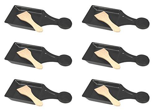 6er Set Raclette-Pfännchen mit Holzspachtel