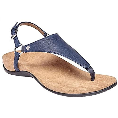 Sandali da donna a prova di acqua, con supporto per arco ortotico, comodi sandali estivi con cinturino a T Blu 3XL