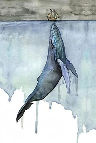 Baleine orque aquarelle peinture paysage marin mur art photos affiche et impressions peinture photos art pour salon décor maison-50x70CM sans cadre