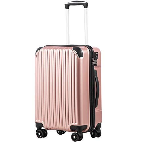 [クールライフ] COOLIFE スーツケース キャリーバッグダブルキャスター 二年安心保証 機内持込 ファスナー式 人気色 超軽量 TSAローク (ローズゴールド, S サイズ(機内持ち込み))