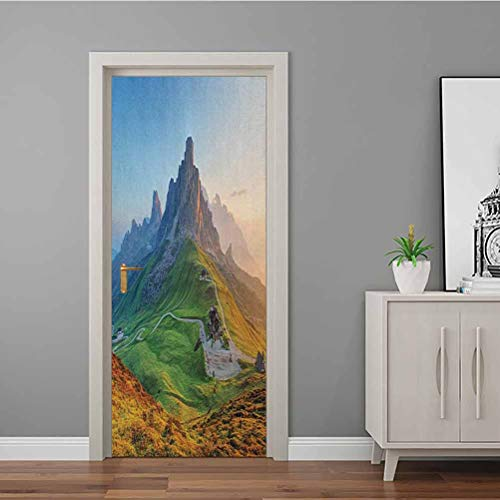 Decal Sunrise at Dolomites Mountains Greenland Hillside Houses Natural Life Bathroom Door Decal Used on Your Fridge Door Fern Green Multicolor 90x200 CM