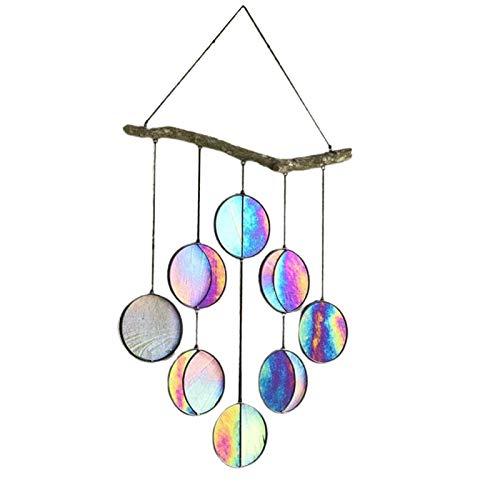 Calager Luminaires Suspendus Vintage Industriel Exquis Décoratif Pendentif Lumière Multicolore Arc-en-ciel Phase De Lune Industrielle Pendentif Lumière Art Pendentif Pour Intérieur 8 Têtes Multicolore