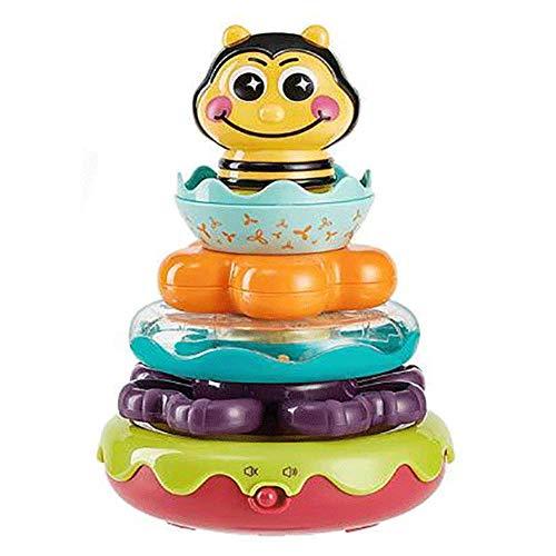 Juguetes musicales educativos para la primera infancia para niños, juguetes para apilar anillos de arcoíris, percepción táctil, diseño de vaso, juguetes de actividades de aprendizaje para niños de 0 a