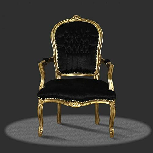 FidgetGear Barockstuhl schwarz gold Stoff antik repro design luxus lounge holz möbel Lounge as...