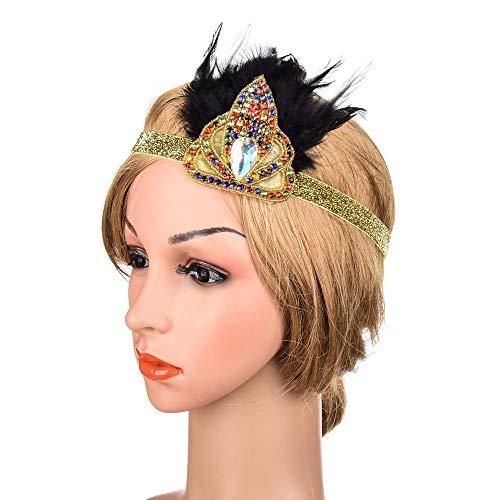 Tiara Corona Vintage Flapper tocado de la pluma del taladro de agua de la novia de la mujer para la...