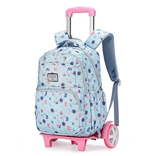JKHN Mochila Escolar con Carrito para niñas, Mochila Impermeable para Viajes al Aire Libre para Escuela Primaria con Mochila Desmontable C