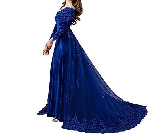 Cloverbridal Damen Vintage Langarm Samt Abendkleider Ballkleider Von der Schulter Hochzeitskleider Brautkleider mit Zug Blau 46