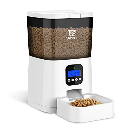 WOPET Automatic Cat Feeder,7L Pet Food Dispenser for Cats and Dogs,Programmable Portion Control 1-4 Meals per Day & 10s Voice Recorder for Small Medium and Large Pets