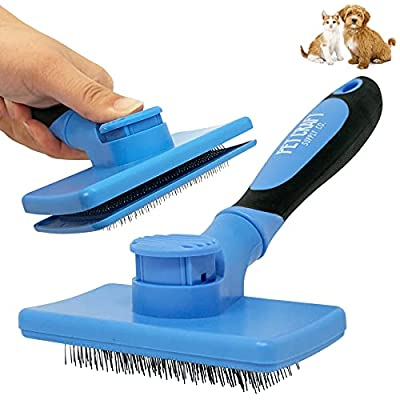 Pet Craft Supply Self Cleaning Calming Slicker Pet Grooming Brush for Dogs and Cats with Short to Long Hair, Removes Mats, Tangles, Loose Hair and Undercoat Treatment by R2PH0